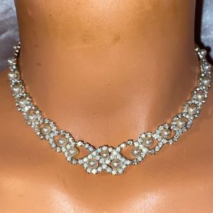 Embellished crystal faux pearl statement Necklace